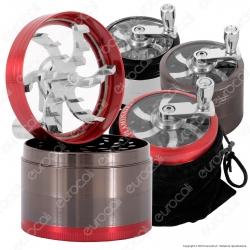 Grinder Tritatabacco 4 Parti in Metallo - con Manovella e Sacchetto Microfibra