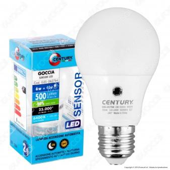 Century LED Sensor E27 6W Bulb A60 con Sensore Crepuscolare