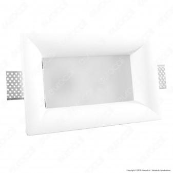 Portafaretto Rettangolare da Incasso in Gesso e Vetro per Lampadine GU10 e GU5.3 - ART 2053