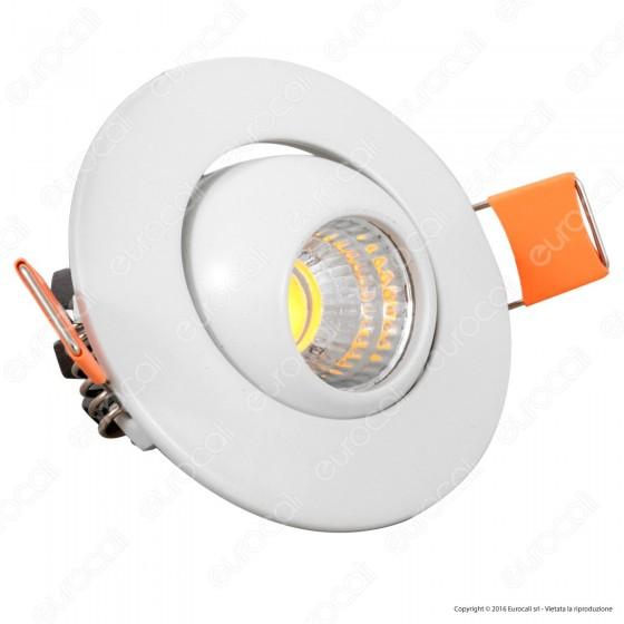 V-Tac VT-1133 RD Faretto LED da Incasso Rotondo 3W COB - SKU 5092 / 5093