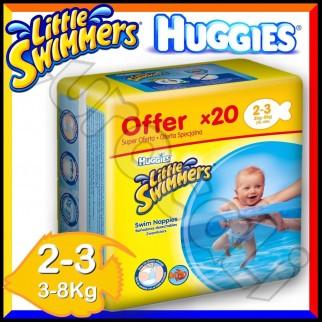 Huggies Little Swimmers Pannolino Costumino Taglia 2/3 (3-8 Kg) Box da 20 Pezzi