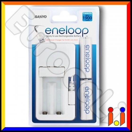 Sanyo Eneloop Caricabatterie USB MDU01 + 2 Pile Stilo AA 2000 mAh