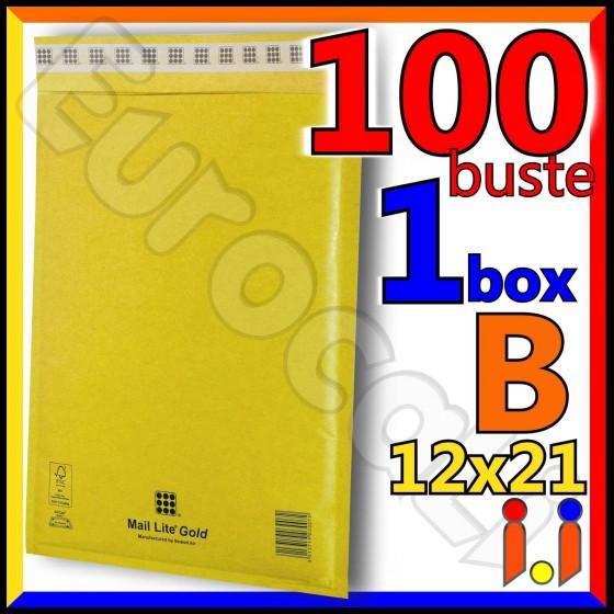 Mail Lite Gold Misura 12x21 cm Rif. B - 100 Buste Postali Imbottite