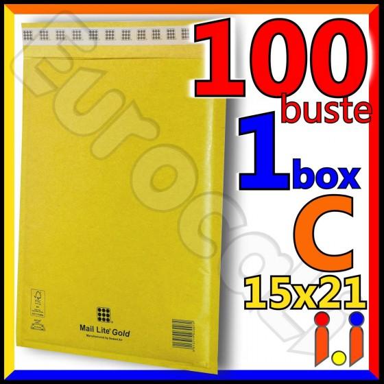 Mail Lite Gold Misura 15x21 cm Rif. C - 100 Buste Postali Imbottite