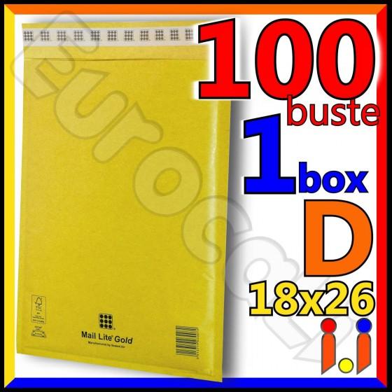 Mail Lite Gold Misura 18x26 cm Rif. D - 100 Buste Postali Imbottite