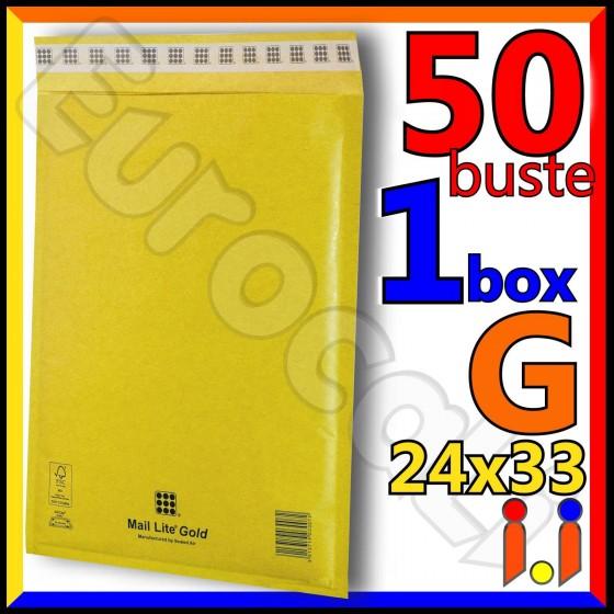 Mail Lite Gold Misura 24x33 cm Rif. G - 50 Buste Postali Imbottite