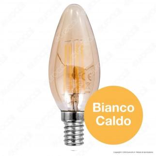 V-Tac VT-1955 Lampadina LED E14 4W Candela Filamento in Vetro Ambrato Vintage - SKU 7113