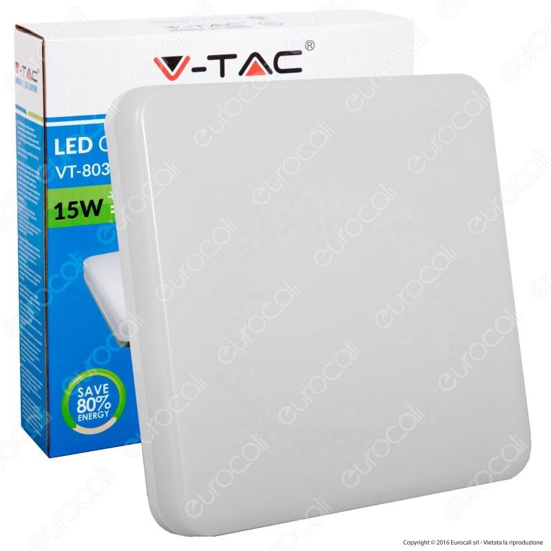 V-Tac VT-8033SQ Plafoniera LED 15W Forma Quadrata Colore Bianco - SKU 5567