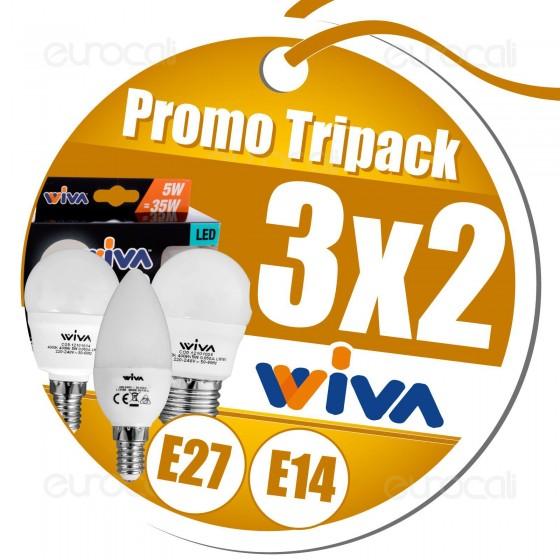 3x2 Acquistando Lampadine E27 o E14 in Confezione Tripack Wiva
