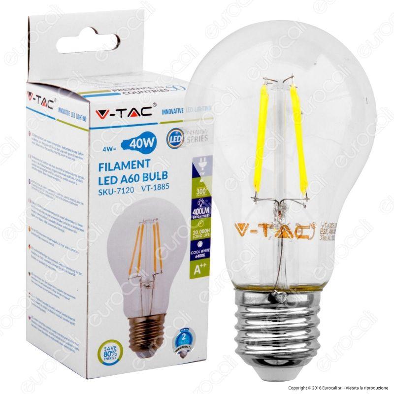V tac vt 1885 lampadina led e27 4w bulb filamento for Lampadine led 4 watt