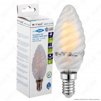 V-Tac VT-1936 Lampadina LED E14 4W Candela Frost Twist Filamento - SKU 7108 / 7109