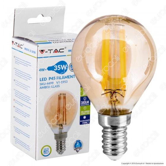 V-Tac VT-1957 Lampadina LED E27 4W MiniGlobo G45 Filamento Ambrata - SKU 7100