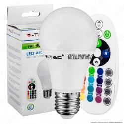V-Tac VT-2022 Lampadina LED E27 6W Bulb A60 RGB+W con Telecomando - SKU 7121 / 7150
