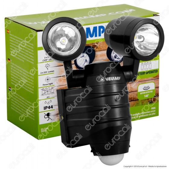 Velamp IS352 Faro LED 2x5W a Batteria con Sensore di Movimento