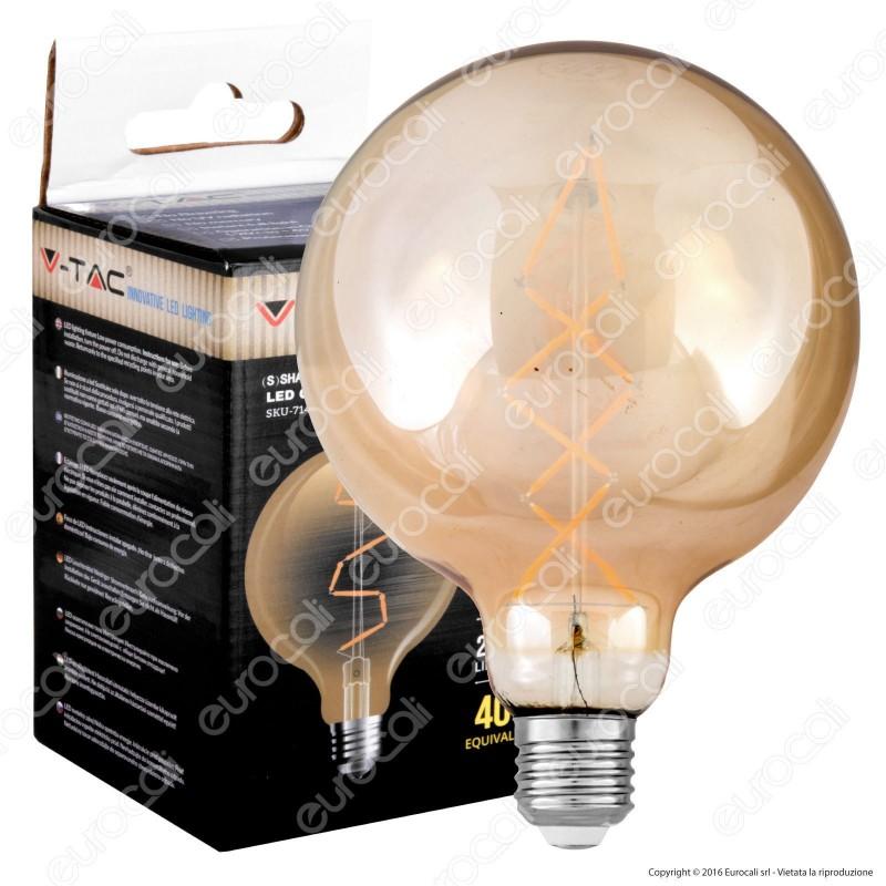 V-Tac VT-2018 Lampadina LED E27 8W Globo G145 Filamento Ambrata - SKU 7149