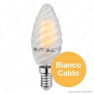 V-Tac VT-1928 Lampadina LED E14 4W Candela Frost Twist Filamento - SKU 7108 / 7109