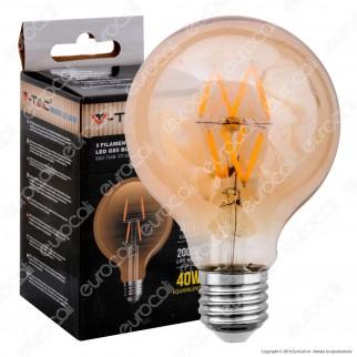 V-Tac VT-2004 Lampadina LED E27 4W Globo G80 Filamento Ambrata - SKU 7148