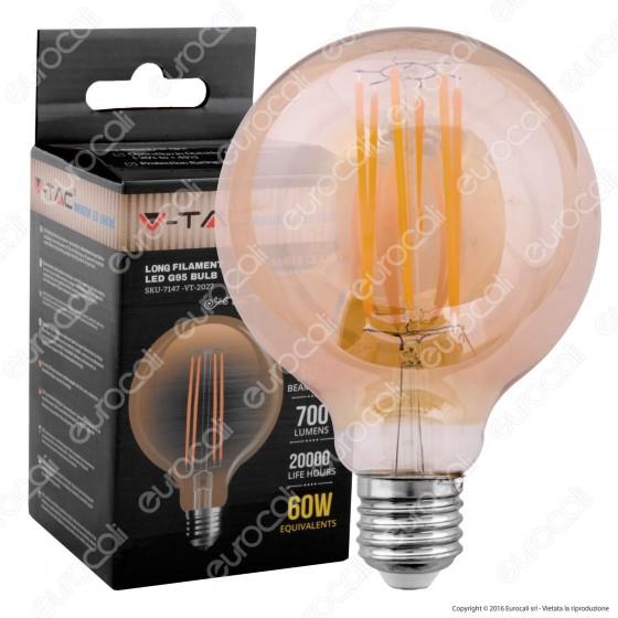 V-Tac VT-2027 Lampadina LED E27 7W Globo G95 Filamento Ambrata - SKU 7147