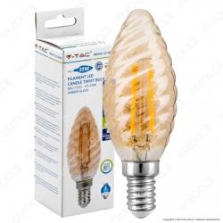 V-Tac VT-1948 Lampadina LED E14 4W Candela Twist Filamento Ambrata - SKU 7115