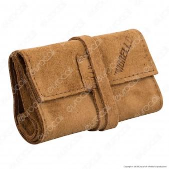 Il Morello Pocket Mini Portatabacco in Vera Pelle Colore Marrone Chiaro