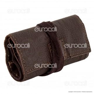 Il Morello Pocket Mini Portatabacco in Vera Pelle Riciclata Colore Marrone