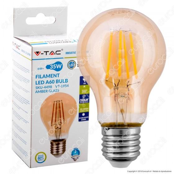 V-Tac VT-1954 Lampadina LED E27 4W Bulb A60 Filamento Ambrata - SKU 4498