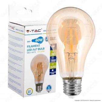 V-Tac VT-1958 Lampadina LED E27 8W Bulb A67 Filamento Ambrata - SKU 4472