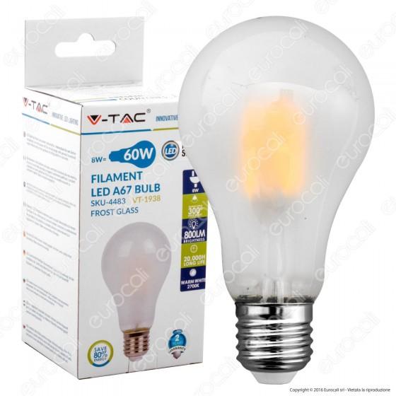V-Tac VT-1938 Lampadina LED E27 8W Bulb A67 White Filamento - SKU 4483 / 4484 / 4485