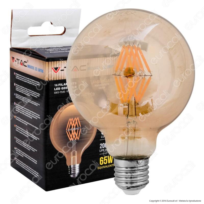 V-Tac VT-2018 Lampadina LED E27 8W Globo G125 Filamento Ambrata - SKU 7149