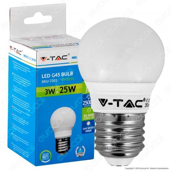V-Tac VT-2053 Lampadina LED E27 3W MiniGlobo G45 - SKU 7203