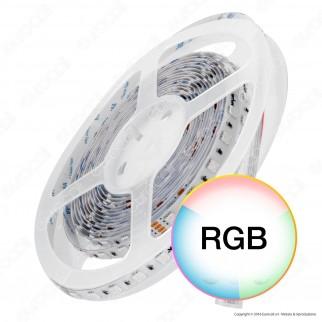 Wiva Striscia LED 5050 Impermeabile Multicolore RGB 60 LED/metro 24V- Bobina da 5 metri