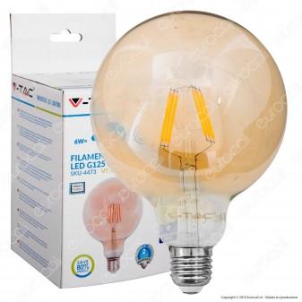 V-Tac VT-1956 Lampadina LED E27 6W Globo G125 Filamento Ambrata - SKU 4473