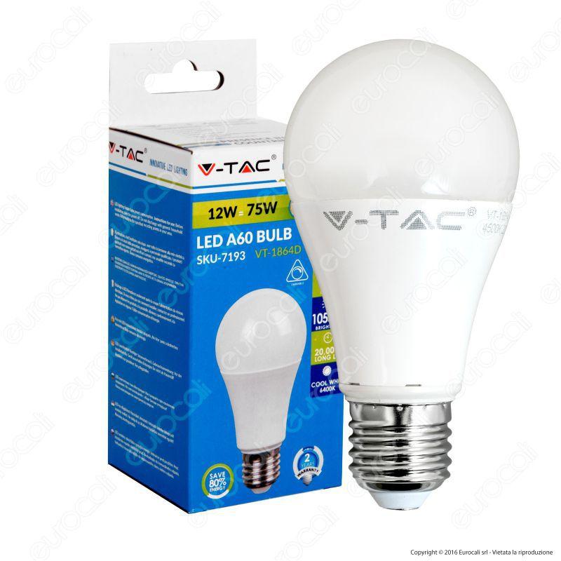 V-Tac VT-1864D Lampadina LED E27 12W Bulb Dimmerabile