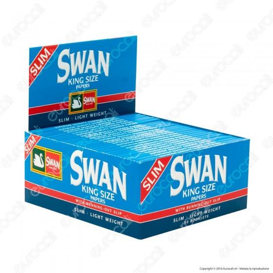 Cartine Swan Blu King Size Slim Lunghe Blue - Scatola da 50 Libretti