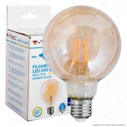 V-Tac VT-2026D Lampadina LED E27 6W Globo G95 Filamento Ambrata Dimmerabile - SKU 7156
