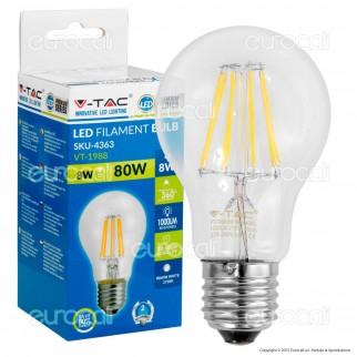 V-Tac VT-1988 Lampadina LED E27 8W Bulb A65 Filamento - SKU 4363
