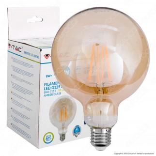 V-Tac VT-2018D Lampadina LED E27 8W Globo G125 Filamento Ambrata Dimmerabile - SKU 7155