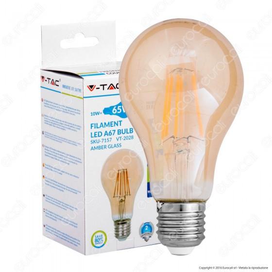 V-Tac VT-2028 Lampadina LED E27 10W Bulb A67 Filamento Ambrata - SKU 7157