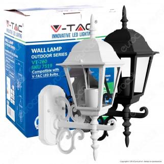V-Tac VT-760 Portalampada da Giardino Wall Light da Muro per Lampadine E27 - SKU 7520 / 7519