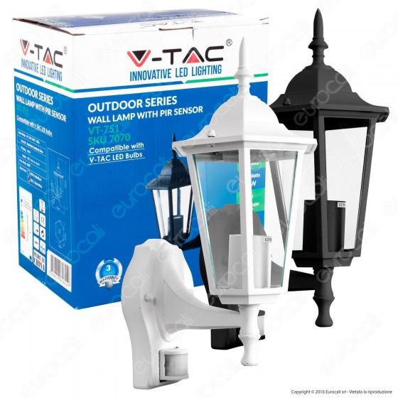 V-Tac VT-751 Portalampada da Giardino Wall Light da Muro con Sensore per Lampadine E27 - SKU 7071 / 7070
