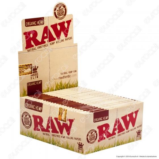 Cartine Raw Organic Hemp King Size Slim Lunghe Canapa Biologica - Scatola da 50 Libretti