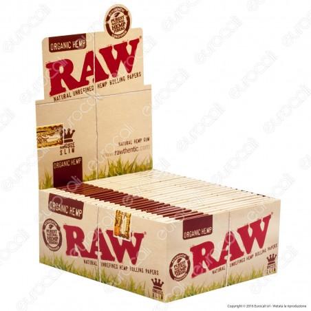 PROV-A00289001 - Cartine Raw Organic Hemp King Size Slim Lunghe Canapa Biologica - Scatola da 50 Libretti