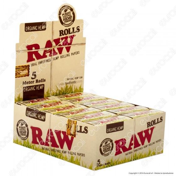 Cartine Raw Rolls Organic Hemp King Size Lunghe Canapa Biologica - Scatola da 24 Pacchetti