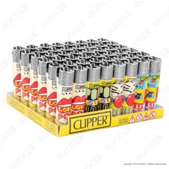 Clipper Large Fantasia Pop Art - Box da 48 Accendini