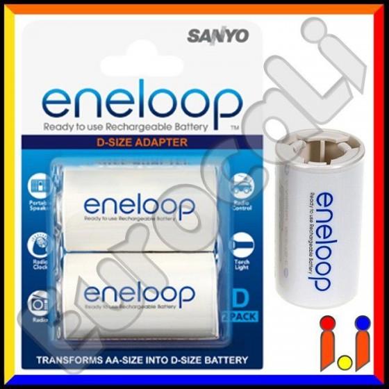 Sanyo Eneloop Converters Adattatori Da Stilo (AA) a Torcia (D) - Blister 2 Pezzi