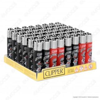 Clipper Micro Fantasia Skulls & Poker - Box da 48 Accendini
