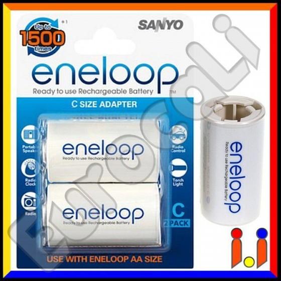 Sanyo Eneloop Converters Adattatori Da Stilo (AA) a Mezzatorcia (C) - Blister 2 Pezzi