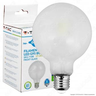 V-Tac VT-2057 Lampadina LED E27 7W Globo G95 Frost Filamento - SKU 7188