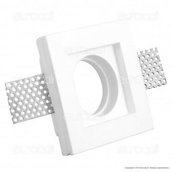 V-Tac VT 776SQ Portafaretto Quadrato da Incasso in Gesso per Lampadine GU10 e GU5.3 - SKU 3641