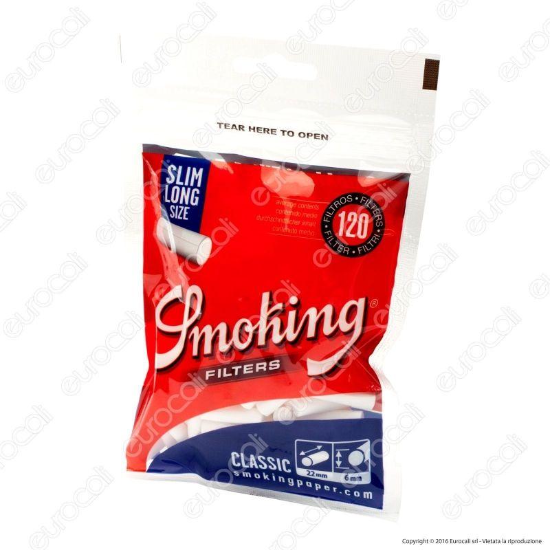 SMOKING FILTRI CLASSIC SLIM 6 MM 30 BUSTE DA 120 FILTRI EXTRA LONG